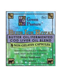 Green Pasture - BLUE ICE™ Royal Butter Oil / Fermented Cod Liver Oil Blend - Non-Gelatin CAPSULES 120 Caps