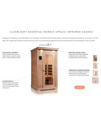 Essential Clearlight CE-1 (One Person Nordic Spruce Far Infrared Sauna - Low EMF)
