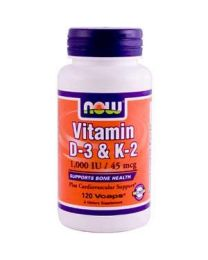 Now Foods, Vitamin D3 & K2, 1,000 IU / 45 mcg, 120 Veggie Caps
