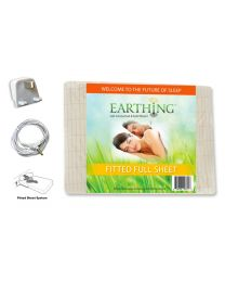 Earthing® fitted Bed Sheet with UK connection – SIZE: UK Double bed. Dimensions: 54 x 75 inches (137 x 190 cm) (aka USA full sheet shown on packaging)