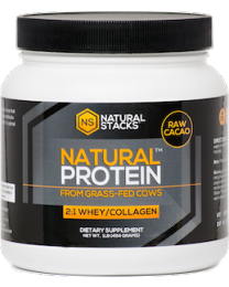 Natural Protein™: Whey + Collagen, 1lb Raw Cacao (Natural Stacks)