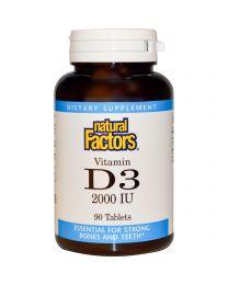 Natural Factors, Vitamin D3, 2000 IU, 90 Tablets