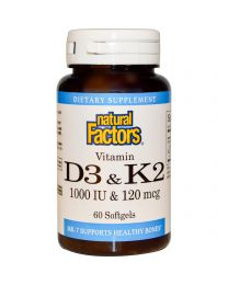 Natural Factors, Vitamin D3 & K2, 60 Softgels